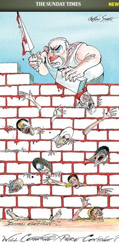 27-01-2012. On Holocaust Memorial Day, British weekly the Sunday Times publishes cartoon depicting big-nosed Netanyahu paving wall with Palestinian blood, limbs.