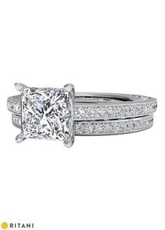 Princess Cut Micropavé Diamond Engagement Ring in White Gold with matching Wedding Band