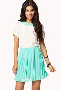 White and Turquiose Dress. Turquoise skirt and collar from Forever 21