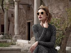 Campagna Pubblicitaria per la Collezione Occhiali da Sole Donna Dolce & Gabbana Inverno 2014. Bianca Balti testimonial Dolce.
