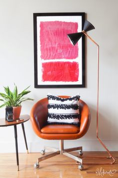 Loving this Anthropology Hack by The Makerista!! DIY lamp, pillow and art! So fab!