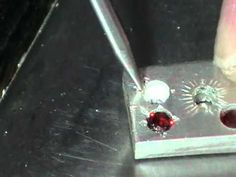 bead setting for faceted stone closeup - YouTube