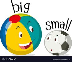 Two balls one big and one small Royalty Free Vector Image English Activities For Kids, Learning English For Kids, English Lessons For Kids, Preschool Learning Activities, Preschool Lessons, Teaching English, Opposites For Kids, Opposites Preschool, Shape Worksheets For Preschool