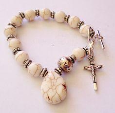 Catholic 1 Decade chaplet, rosary, prayer beads, bracelet, Guardian Angel, white howlite on Etsy, $28.00