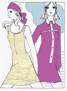 1960s dolly bird Bobby Hillson fashion illustration