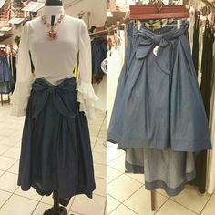 Take your fashion style to the next level with this piece from Filetta's Couture Boutique collection. This denim flared skirt will look great with any style shirts or blouses for the summer. Come check us out at Filetta's Couture Boutique located at the Town Center at Aurora Mall. #denimskirt #flaredskirt #skirts #localboutique #denim