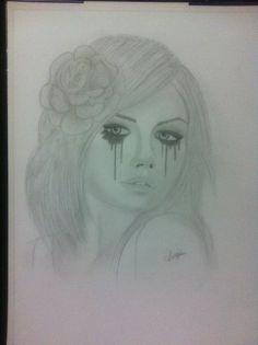Crying girl pencil drawing.