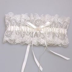2015 Lace Bridal Garters White Wide Satin Bridal Garters Fast Shipping with…