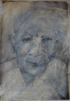 Portretstudie, collage en acryl  op papier 25x35, 2014, Marjo Holtland