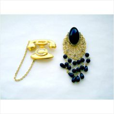 2 BIG FAB VTG. BROOCHES: JJ TELEPHONE & BLACK COLLAGE WITH DANGLES & RHINESTONES on eBid United States