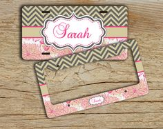 Monogrammed license plate or frame chevron license plate - Taupe chevron hot pink floral - personalized car tag bike license plate (1008)