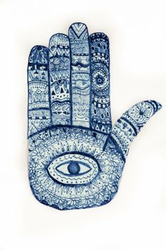 Eye In Hand - Amulet /Symbol for Protection Against Evil (Hand of Fatima /Hamsa ) Illustrations, Illustration Art, Hand Kunst, Arte Judaica, Hand Of Fatima, Thinking Day, Jewish Art, Hand Art, Hamsa Hand
