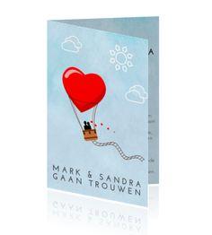 Mooie trouwkaart met luchtballon in vorm van een hart
