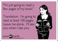 """""""Just going to read a few pages..."""" translation"""