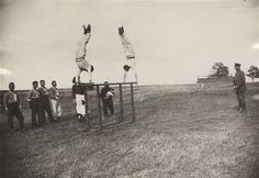 Officers of the Imperial German Air Service compete at a squadron athletics meeting near the Western Front in 1917