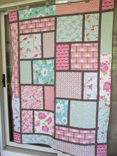 RMM Quilt: Modern Blue and Pink Quilt, while I think this is pretty I am currently trying to use up a whole bunch of pink fabric, bunches of different kinds.  I think this would be a great way to use up a bunch of it and frame it in white for a backing for one of my projects.