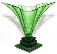 "MOSER ART DECO GREEN GLASS VASE, SIGNED, H 11 1/2"", W 12 1/2"":Fan shape, on a stepped base; signed ""Moser"" at the base."