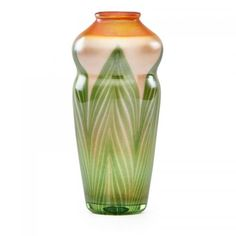 TIFFANY STUDIOS Favrile glass vase  Pulled feather #Favrile #glass paperweight #vase, New York, 1907 Estimate: $1,750- $2,250