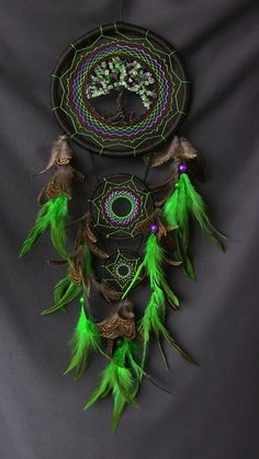 Tree Of Life Dream Catcher Green by ElizaDreamCatchers on Etsy
