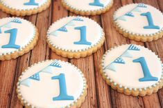 First birthday cookies~ , Blue number, round Blue Cookies, Fancy Cookies, Iced Cookies, Cupcake Cookies, Sugar Cookies, First Birthday Cookies, 1st Boy Birthday, Birthday Bunting, Number 1 Birthday Cake Boy