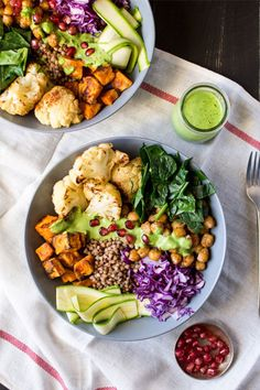Winter Goodness Bowl With A Green Sauce | Lazy Cat Kitchen