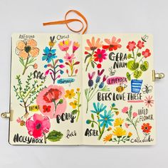 Love the floral illustration and the hand lettering!  Carolyn Gavin, artist  Best Instagram Sketchbook