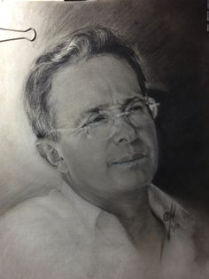 """""""Alvaro Uribe""""  Life Size. Charcoal and White Chock on toned paper. 16"""" x 20"""""""