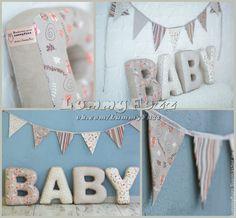 Купить Буквы-подушки и гирлянды из флажков - буквы-подушки, интерьер, детская, текстиль для детской