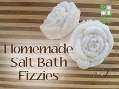 These salt bath fizzies use natural sea salt, epsom salt and alkalizing baking soda with citric acid for a relaxing fizz that soothes and nourishes.