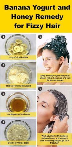 Banana yogurt and honey remedies for frizzy hair