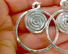 Wire Wrapped Jewelry Handmade Wire Jewelry Wire Earrings Silver Wire Jewelry Silver Earrings Silver Jewelry Hammered Earrings Clip On Avail.