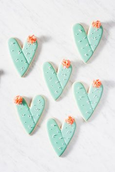 Cactus Heart Cookies. Love the colors.