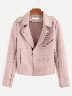 To find out about the Pink Epaulet Zipper Detail Suede Biker Jacket at SHEIN, part of our latest Jackets ready to shop online today! Pink Suede Jacket, Suede Moto Jacket, Pink Jacket, Leather Jacket, Suede Leather, Coats For Women, Jackets For Women, Mode Hijab, Sweater Coats