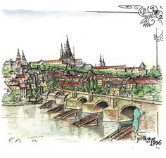 """""""Prague 1906"""" ink, watercolor"""