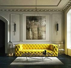 Chic art deco style luxury living room decor with yellow tufted soho sofa Luxury Furniture, Interior Design, Chic Living Room, Apartment Decor, Luxury Living, Luxury Living Room Decor, Home Decor, White Furniture Living Room, Furniture Design