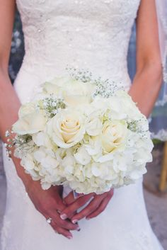 White Rose and Hydrangea Bouquet | Need more great ideas to plan your wedding? www.destinationweddingcollective.com