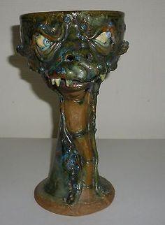 Handmade Clay Dragon Head Goblet Judhe Jensen of Topeka Kansas