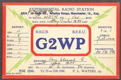 G2WP P L Waters Manchester England QSL card 1936 - http://collectibles.goshoppins.com/radio-phonograph-tv-phones/g2wp-p-l-waters-manchester-england-qsl-card-1936/