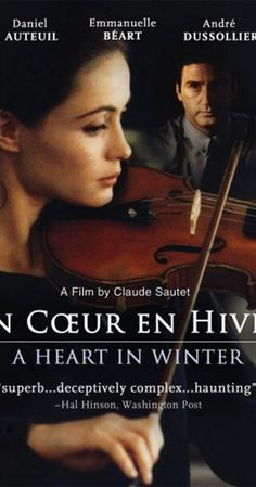 Directed by Claude Sautet.  With Daniel Auteuil, Emmanuelle Béart, André Dussollier, Elizabeth Bourgine. Beautiful violin virtuoso Camille has two obsessions: the music of Ravel, and a friend of her husband's who crafts violins. But his heart seems to be as cold as her playing is passionate.