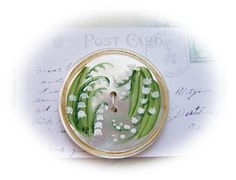 Studio Button Hand Painting Lily of the valley flowers painted on vintage mother of pearl