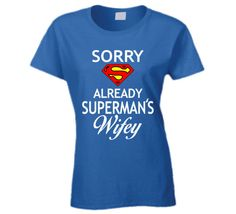 Perfect Ladies Superman T Shirt to wear - let everything think your dating or even married to Superman. Have some fun! This is a ladies t shirt made from 100% jersey cotton. Scroll through the images