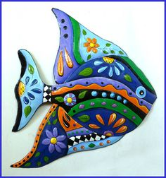 Hand Painted Metal Tropical Fish Wall Hanging - Beach House Decor   -- See more hand painted metal wall decor at www.TropicDecor.com