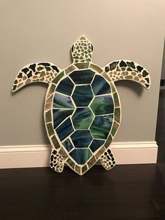 Mounted on plywood, white grout. Includes 2 hooks on back for hanging. Weighs about 7 lbs. Mosaic Diy, Mosaic Crafts, Mosaic Projects, Stained Glass Projects, Stained Glass Patterns, Mosaic Patterns, Stained Glass Art, Mosaic Glass, Mosaic Tiles