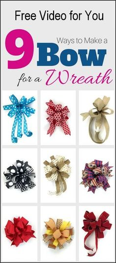 In this free video Im teaching you how to make a bow 9 different ways varying in easy peasy to a little more challenging. But with practice you will be making a bow for wreaths (or garlands mailboxes packages etc.) in no time.Preheat your oven to 275 Wreath Crafts, Diy Wreath, Diy Crafts, Wreath Bows, Wreath Ideas, Make A Wreath Bow, Snowman Wreath, Homemade Crafts, Floral Wreath