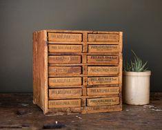 Vintage Home Decor / / Primitive Folk Art Supply Box / Wooden Cheese Box Storage Cabinet / Desk Organization Pull Drawer - Art Supplies