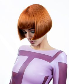 Short Red Bob with Bangs