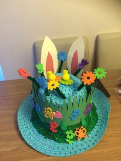 My Boys easter bonnet, was so easy to make! Easter Art, Easter Crafts, Easter Ideas, Paper Hat Diy, Paper Hats, Easter Bonnets For Boys, Easter Hat Parade, Craft Projects For Kids, School Projects