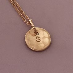 Solid 14k Gold Tiny Initial Necklace  Hand Hammered  by esdesigns