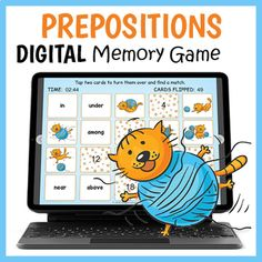 DIGITAL Prepositions Memory Game - Crazy Cat Prepositions Matching Game