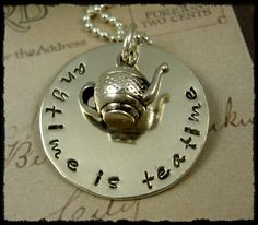 Hand Stamped Tea Teatime Necklace Sterling Jewelry Tea Pot Charm by RoseCreekCottage. $42.00, via Etsy.
